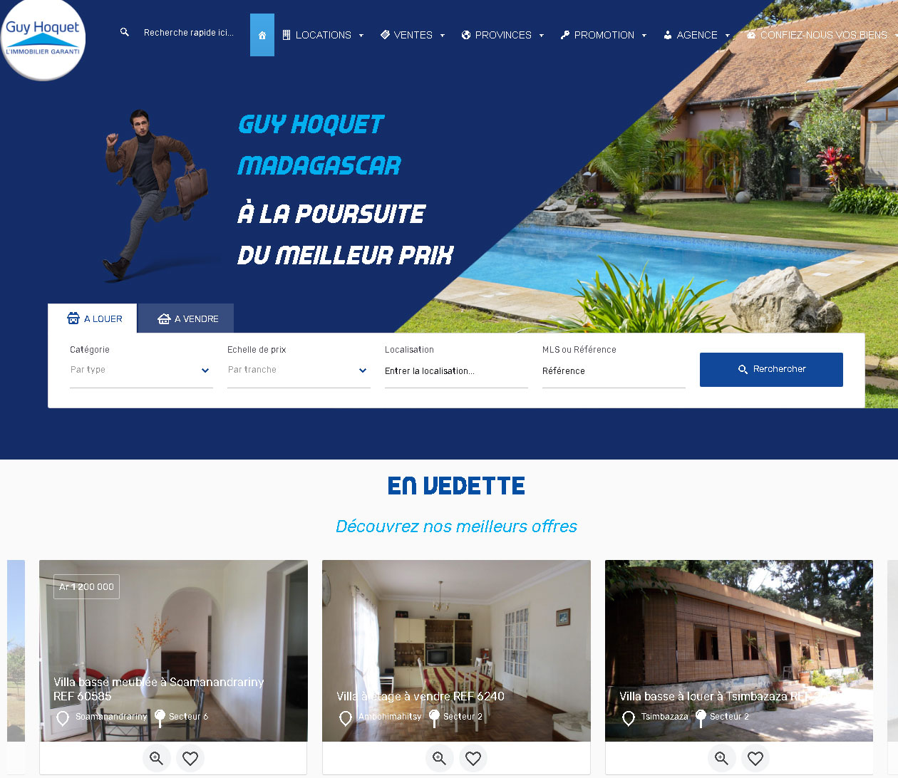 Site immobilier - Guy Hoquet Madagascar