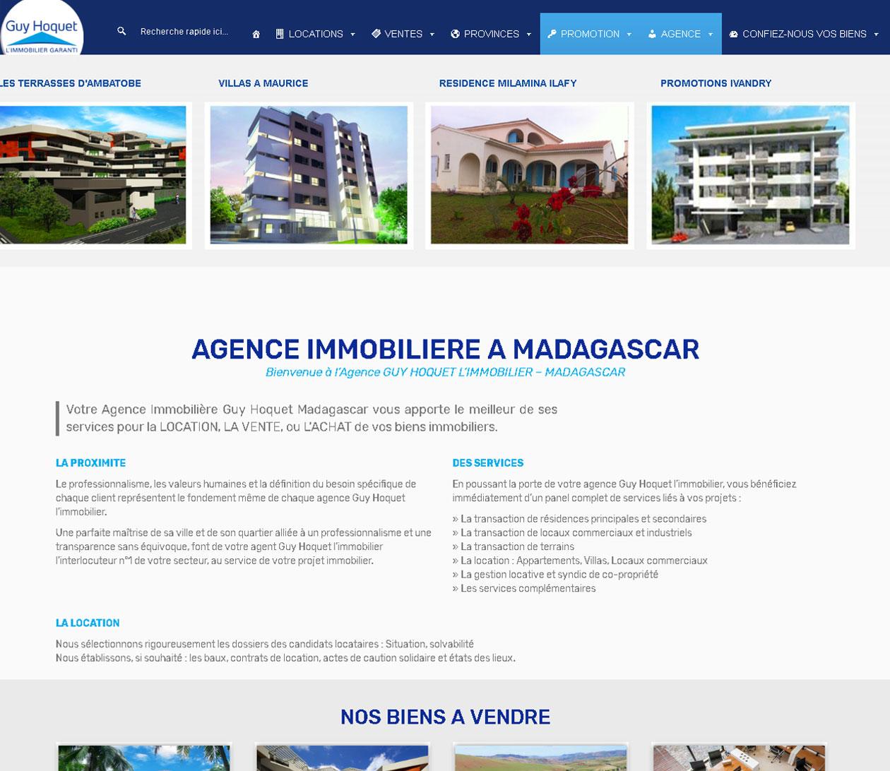 Site immobilier - Guy Hoquet Madagascar