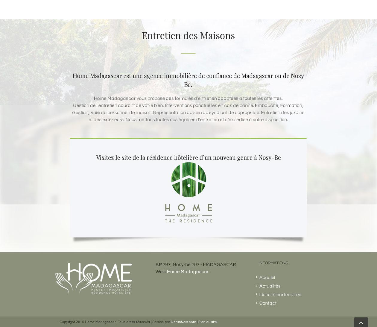 Site immobilier - Home Madagascar